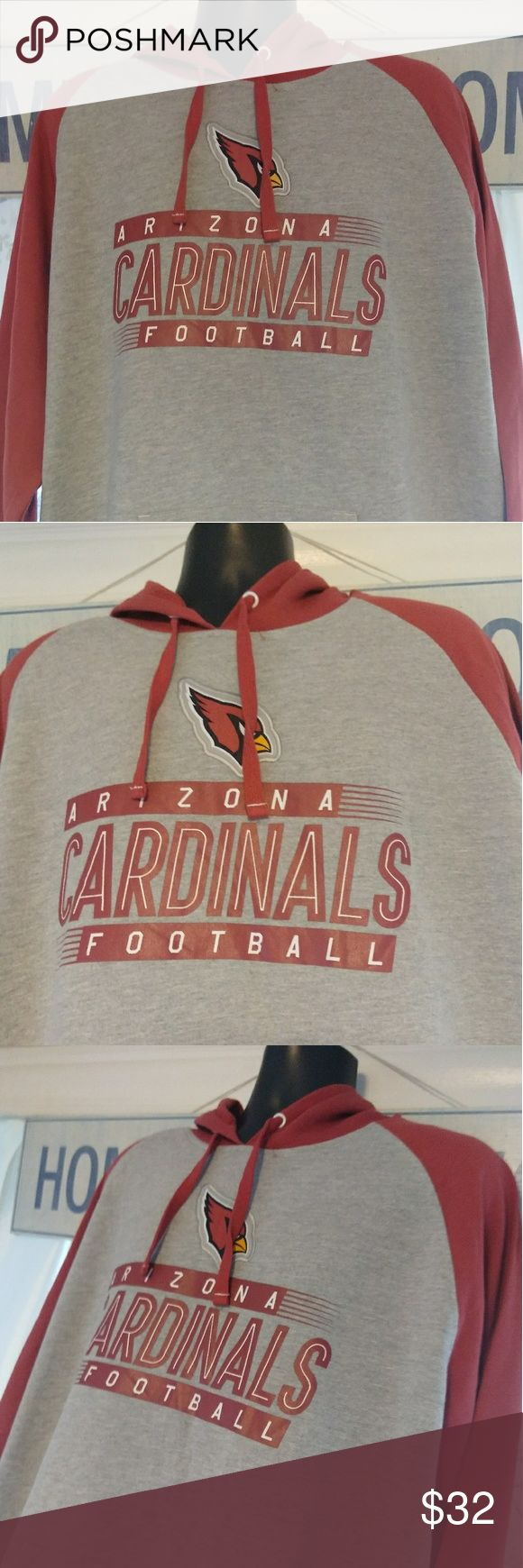 New Az. Cardinals Football Hoodie (2XL) . Item: New Arizona Cardinals Football Hoodie,Features Front Pockets To Keep Your Hands Warm, Draw String Hood. . Size: Adult 2XL . Color: Gray W/Red Trim . Material : 100 % Cotton  . Brand: Genuine NFL Merchandise NFL Shirts Sweatshirts & Hoodies