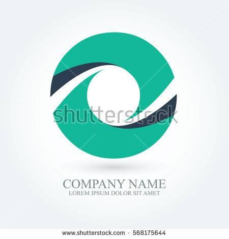 initial letter o creative circle logo typography design for brand and company identity. green and dark blue color