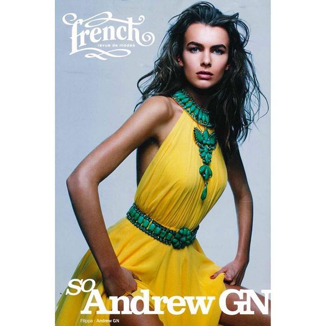 #FBF We are throwing it way back with one of our favorite #AndrewGn #cover moments in the #Frenchrevuedemodes  featuring our #SS04 #halterdress worn with custom Robert Goossens jewellery for #andrewgn
