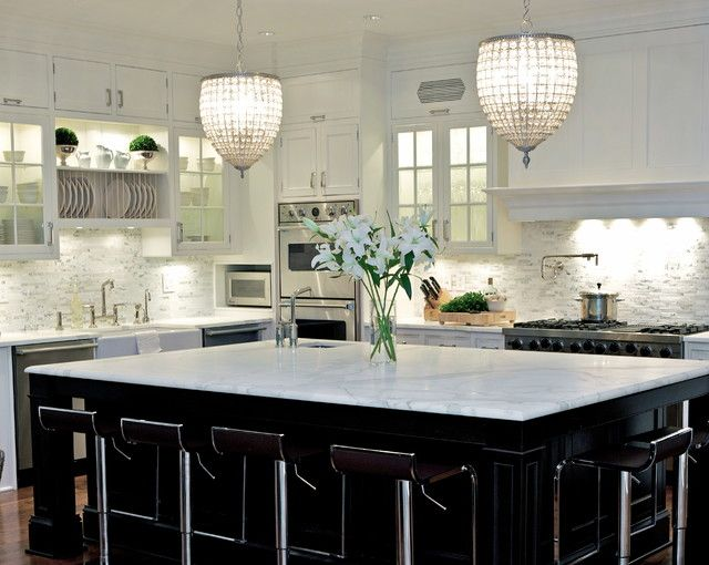 Susan Glick Interiors - kitchens - white cabinets, white kitchen cabinets, white marble countertops, linear marble backsplash, linear marble...Lshaped kitchen (like ours) instead of marble counters use quartz;keep marble backsplash.