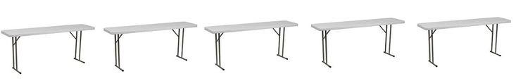 Flash Furniture 18''W x 72''L Granite White Plastic Folding Training Table (5-Pack)