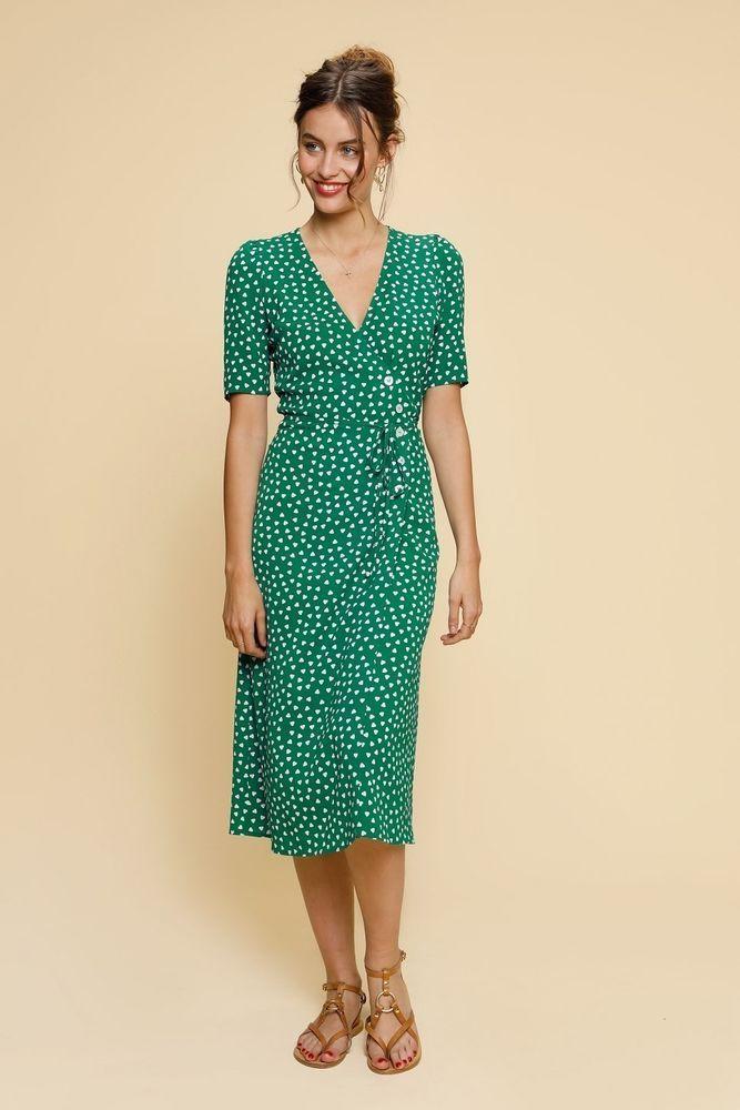 6377172035af8 New Rouje Paris Women's Wrap Dress Green Size 38 M Gabine Print Midi ...