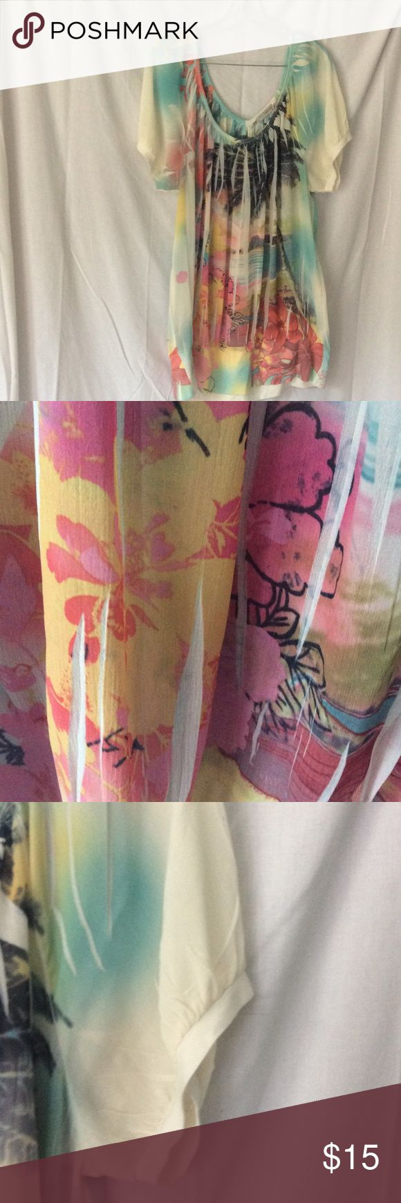 Hawaiian sheer print Maurices top size 2 like new Perfect for hot summer days.....sheer Hawaiian print top. Maurices size 2 Ribbed band around bottom. Like new. Maurices Tops