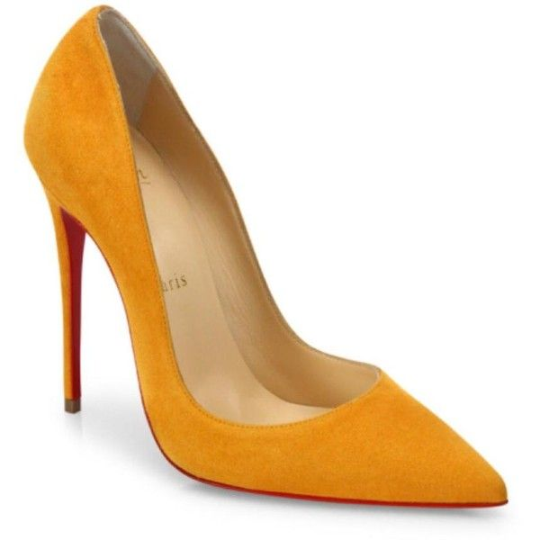 Christian Louboutin Yellow So Kate Full Moon Suede Mustard Stiletto... (1 370 UAH) ❤ liked on Polyvore featuring shoes, pumps, mustard yellow pumps, yellow suede shoes, high heel stilettos, yellow shoes and yellow suede pumps