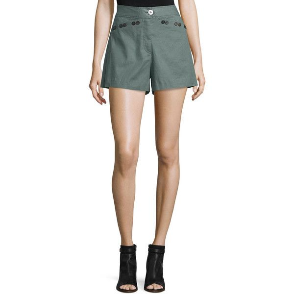 10 Crosby Derek Lam Linen-Blend Sailor Shorts ($149) ❤ liked on Polyvore featuring shorts, army, women's apparel shorts, linen blend shorts, 10 crosby derek lam, army shorts, relaxed fit shorts and sailor shorts
