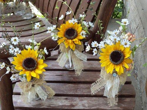 12 pc Rustic Sunflowers / Berries / Burlap / Lace Table Arrangements
