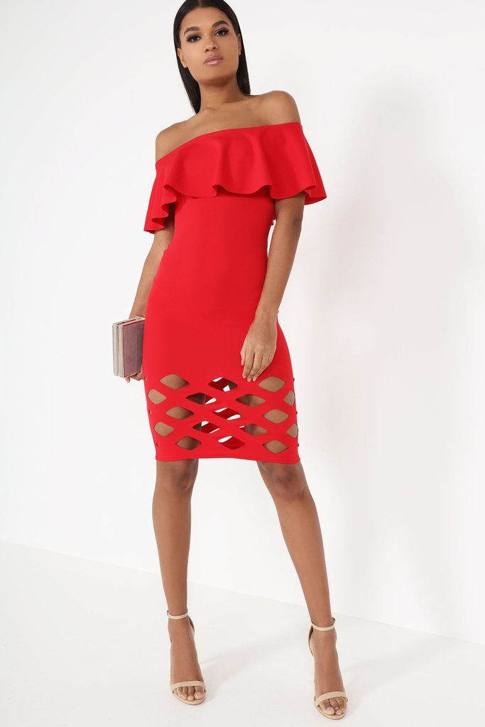 Sonja Red Lazer Cut Frill Bardot Dress Online Shopping | Vavavoom.ie