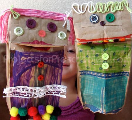 Classic paper bag puppets, so much fun!