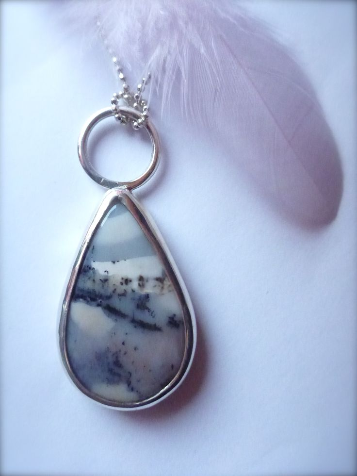 Beautiful landscape agate and silver