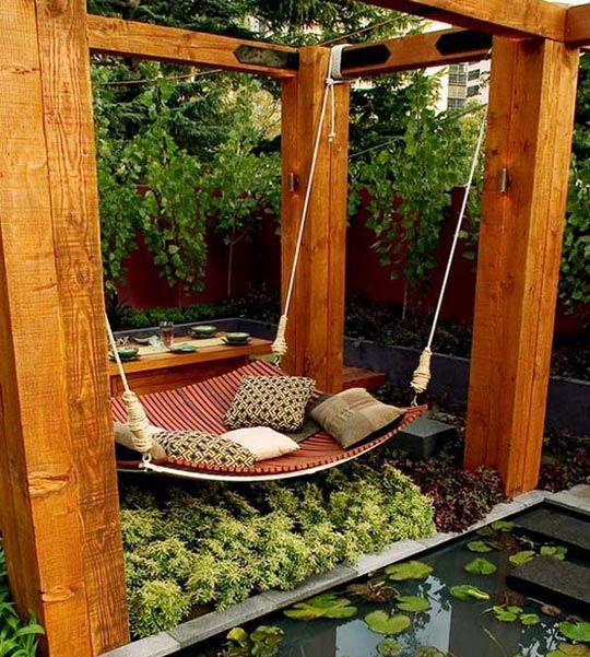hammock, pillows, pond, garden