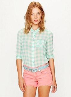 Colored denim cutoff shorts