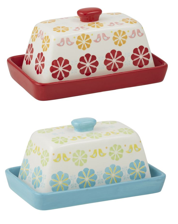 NEW ANNA GARE PEGGY BUTTER DISH WITH LID - RED OR BLUE