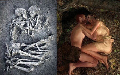 "The ""Lovers of Valdaro"", 5000-4000 BCE. This burial of a young man and woman, lying face to face, with their arms and legs entwined in an apparent eternal embrace was discovered by archaeologists near Mantua in Italy. The burial, which dates from the Neolithic period, was excavated as a single block so the two 'lovers' would not have to be separated."