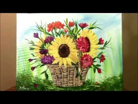 How to paint a Basket of Harvest Flowers for beginners in Acrylic ~ Painting with Wendy - YouTube