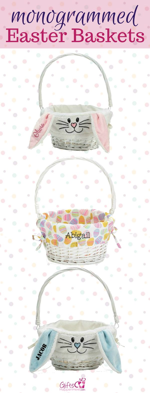 Monogrammed Easter Baskets perfect for your kids! Personalized Easter Baskets with custom name or monogram. Easter Buckets / Easter Baskets for Girls / Easter Basket for Boys / Easter Baskets for Kids / Easter Bunny / Easter Bunny Basket