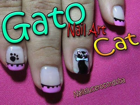Decoración Como Hacer Un Gato En Uña - Huellitas - Gato De Uña - Cat Nail Art | Nailslucerocordoba - YouTube