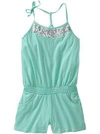 old navy Girls Sequined Striped Rompers