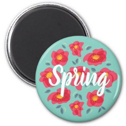 Spring Floral Pattern Pink Petals Custom Text Magnet - floral style flower flowers stylish diy personalize