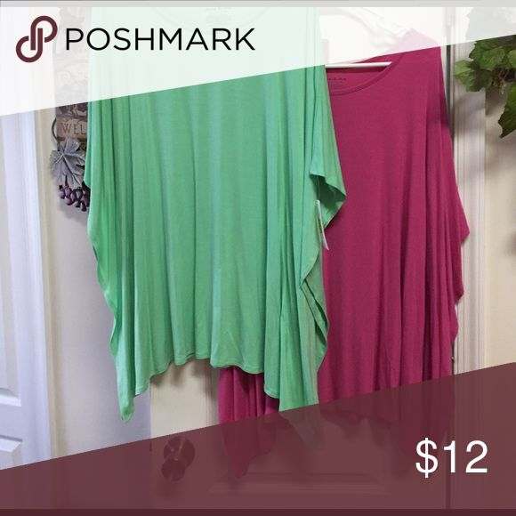 """Anna & Ava Batwing Top Two batwing tops by Anna&Ava. One green one pink. New with tags, about 31"""" long from shoulder.  Purchased from Dillard's. They sold for $35 each, asking $12 each🛍 Anna & Ava Tops"""