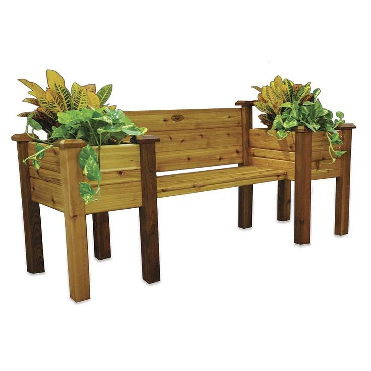 Cedar Planter Bench | Deck | Wood bench, bench with planters, garden bench patio bench, deck bench.