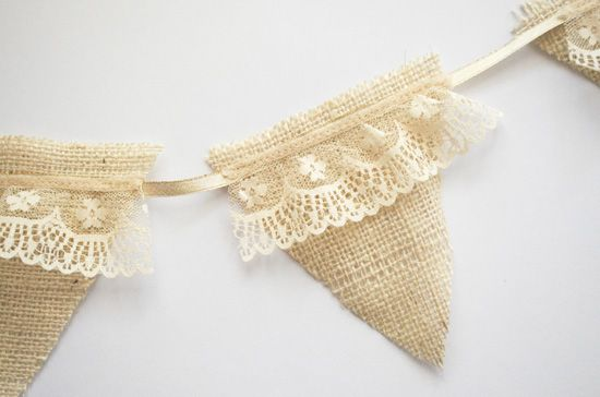 AppleJane: handmade / burlap & lace bunting DIY