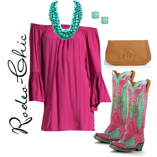 Pretty In Pink by rodeo-chic on Polyvore, Cowboy Boots by @oldgringoboots, country, western, off shoulder dress