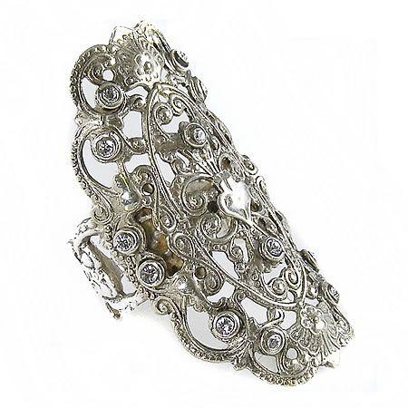 Antigua Ring, Diamond Crystals, Silver, Virgins Saints Angels $273