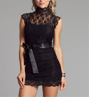 Black Lacey Fitted Dresses, love it