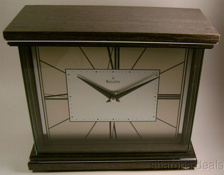 bulova b7656 preston mantel clock wood case protective wrap around glass lens polished chrome inlaid accents