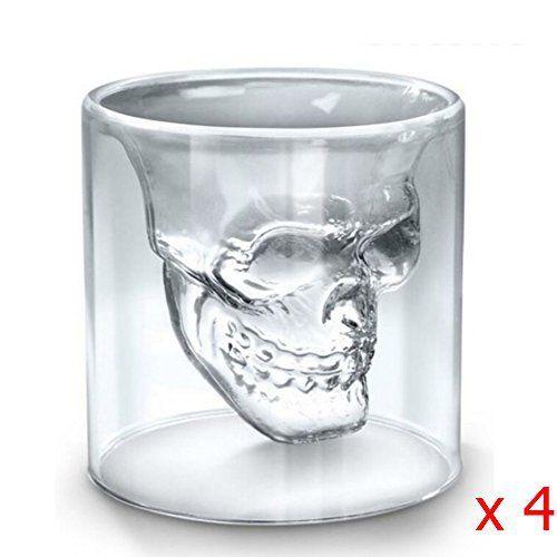 Sinoband Lot de 4Crâne de cristal Head Vodka Shot Verres à vin Tasses à thé, nouveau design 75ml/73,7gram à double paroi Thermo Verres…