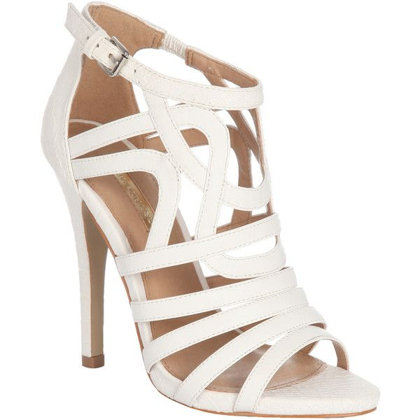 Jane Norman White High Heel Cage Shoe (34 AUD) ❤ liked on Polyvore featuring shoes, sandals, heels, high heels, sapatos, high heel sandals, white shoes, caged heel sandals, heeled sandals and sexy heel shoes