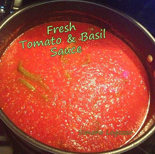 Quick & Easy Fresh Tomato Basil Sauce -  Goes with anything and great for freezing too! Lovefoodies