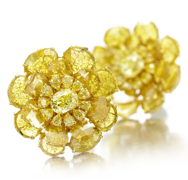 A Pair of Yellow Diamond Ear Clips by Viren Bhagat