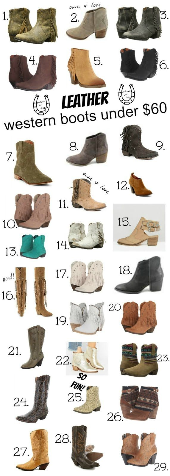leather western boots under $60. cheap cowboy boots. cowgirl boots for spring and summer