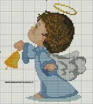 Resultado de imagen para angel bordado en punto de cruz patron