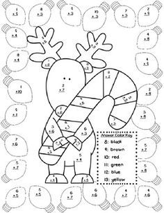 Christmas Addition Color by Number | Christmas math ...