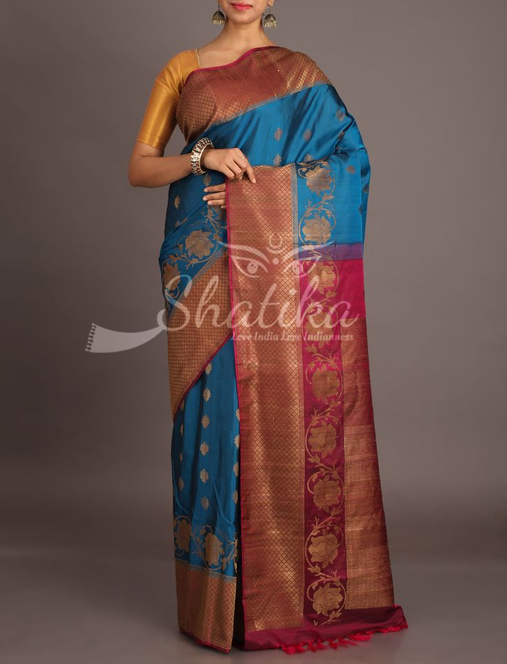 Tripti Chrome Blue With Wine Pink Ethereal Jute Silk Saree
