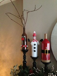 My mom designed Christmas wine bottles for me! Rudolph, Frosty & Santa Attire! ;):