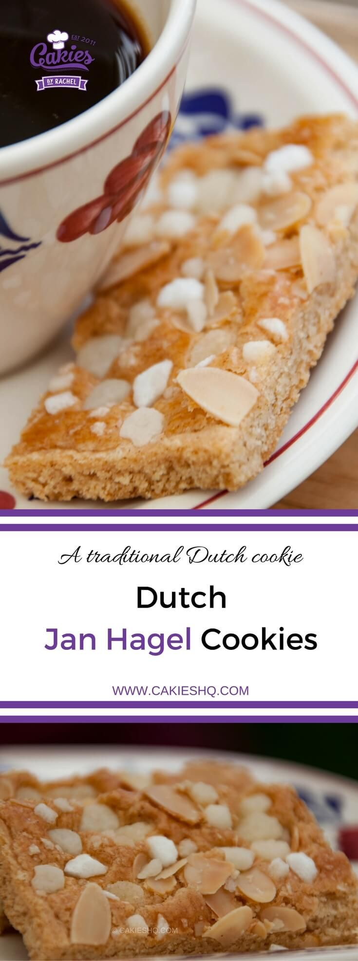 Jan Hagel Cookies -- traditional Dutch shortbread cookies spiced with cinnamon, topped with almonds and pearl sugar.  