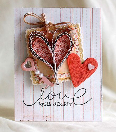 Cool Tools Week: Tooling Around with Teri: Crimp It! at Paper Crafts Connection - see the other cute cards on this post tooIdeas, Scrapbook Cards, Valentine Day, Paper Smooches, Collage Cards, Paper Heart, Valentine Cards, Paper Crafts, Heart Cards