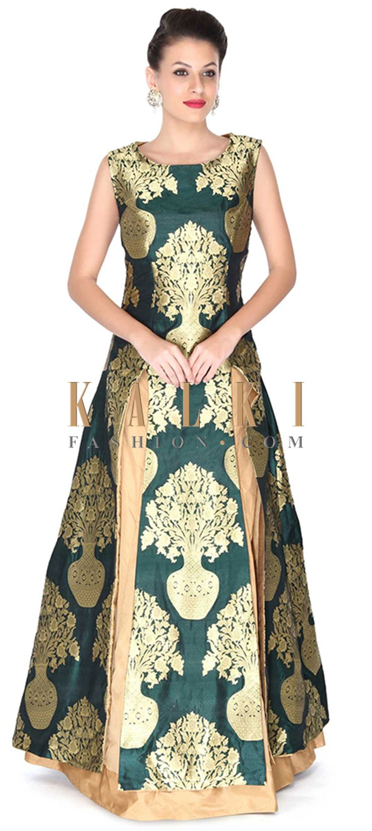 Buy this Green long top matched with beige lehenga only on Kalki