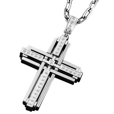 15 best cruces images on pinterest crosses cross pendant and triton mens 13 ct tw diamond cross pendant in stainless steel zales aloadofball Gallery
