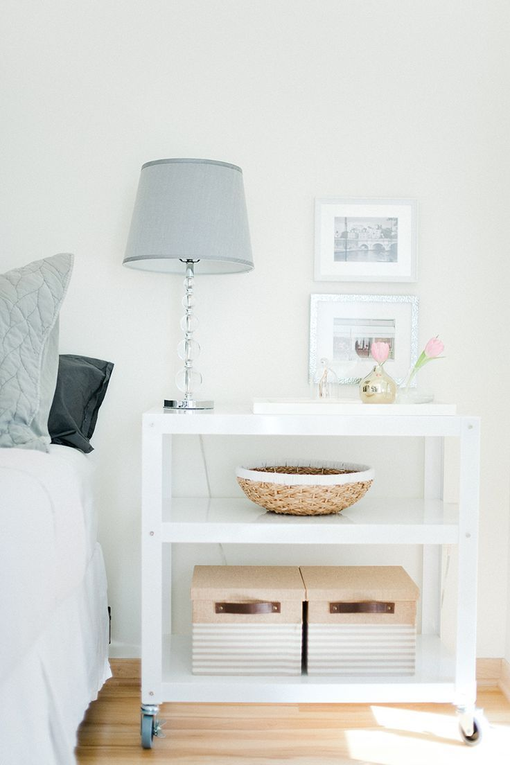simple nightstand styling and storage for studio apartment decor ideas