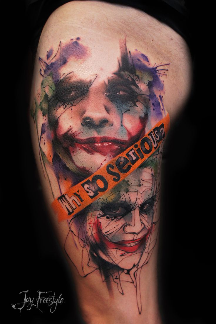 Flaming art tattoo for geek tattoo lovers this kind of batman - Why So Serious Tattoo By Jay Freestyle