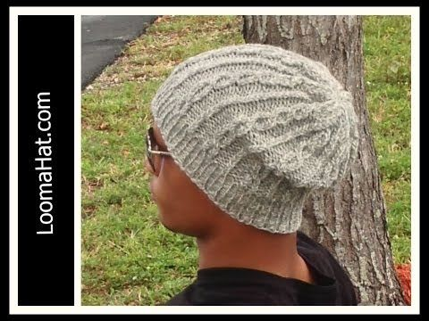 Slouchy Cable Hat - Men or Women on Round Loom - EASY- Begining to End - YouTube