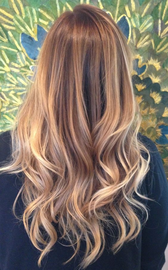 Blonde Balayage ombre with blonde dimensions and a nice golden ash blonde base with golden blonde highlights throughout: