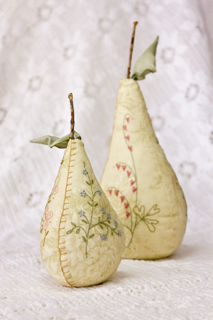 Embroidered Pear Pincushions