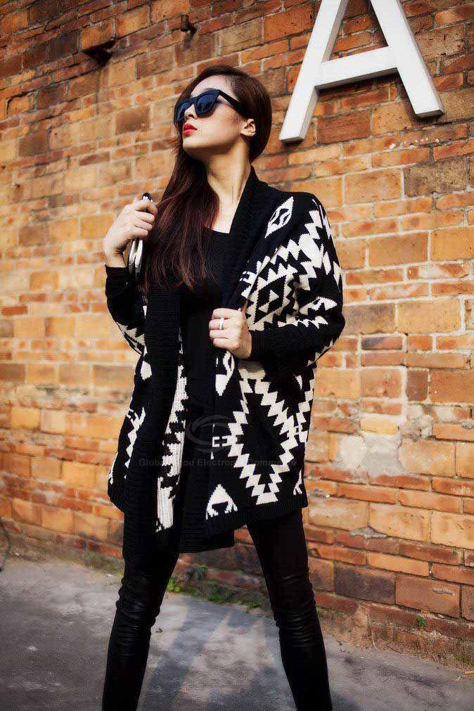 Modern Style Abstract Pattern Batwing Sleeve Knit Women's Cardigan, BLACK, ONE S... #Knitting #Cardigans  China Guangdong Shantou Women|Ladies|Girls Handmade Crochet Knitted Knitting Sweater Knitwear Factory|Manufacturer|Supplier|Vendor, 2017 New Summer|Spring|Fall|Autumn|Winter  Cardigan Pullover Lace Fashion Tops Cami Swim Tunic Tank Shirt Jacket Vest Blouse Dress Bikini Style Clothing Garment #CrochetFactory #SweaterFactory #KnitwearFactory #ClothingFactory #GarmentFacto