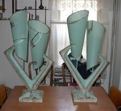 1950's Plasto chalkware lamps. The shape is exactly what my mother had in the late 50s - early 60s.
