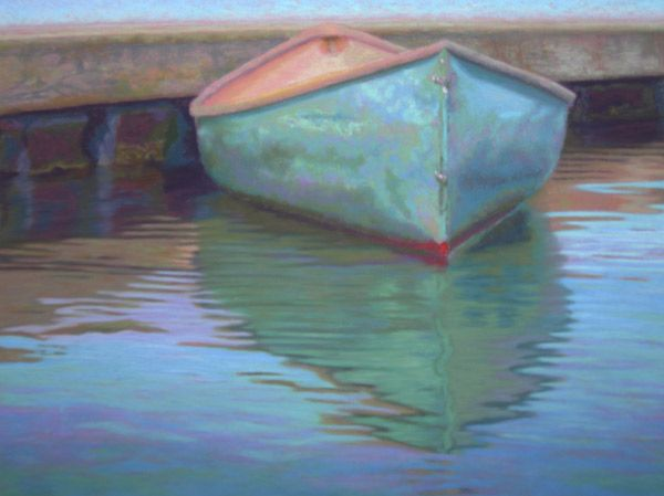 Image detail for -pastel painting: Cape Cod Canoe at Wharf pastel painting by Poucher